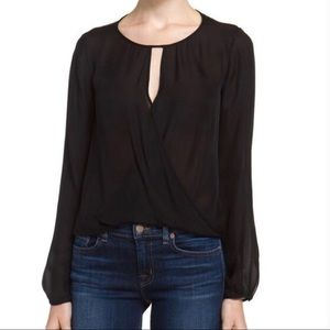 Theory Aija Silk Black Blouse